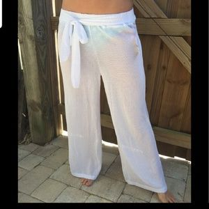 Mesh bathing suit cover up pants